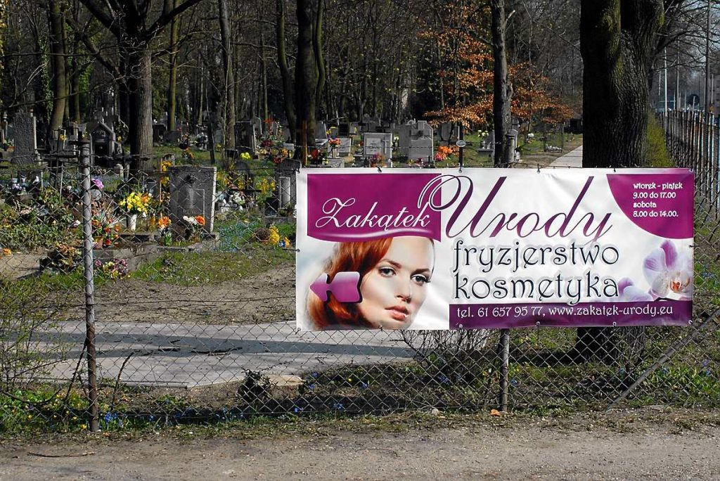 cmentarz nowina poznań reklama